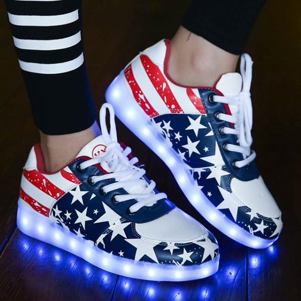 shoes led Newest Cheap genuine leather sneakers fashion 2016 led shoes with 8 Flashing Mode