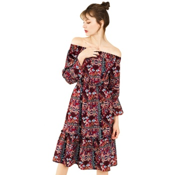 Ladies Print Midi Modern Floral Ruffle Boho Batik Casual Designs Dress