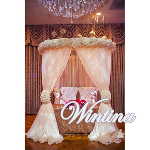 Portable Cheap Mandap Round Chuppah Wedding Curtain Chiffon Drape Square Backdrop