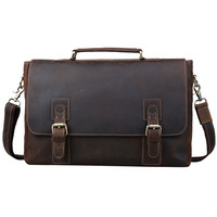 Tiding Luxury Wholesale Mens Crazy Horse Leather Briefcases Genuine Cow Leather Office Laptop Bags fits 14 inches