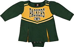Green Bay Packers Infant Cheerleader Creeper Dress, Green, 24 Months