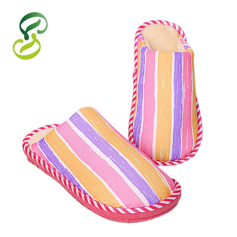 Get Quotations · Plus Size Pantufa Men Women Soft Striped Winter Non-slip Home  Slippers Cotton Sandal House