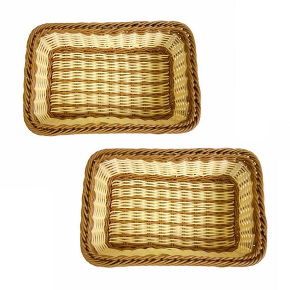 Set of 2, Medium Size Bread Fruit Serving Baskets, Gift Baskets, Restaurant/Pantry Display Baskets, Plastic Woven Storage Baskets, Closet/Kitchen/Bathroom/Dresser Organization Baskets (Multi)