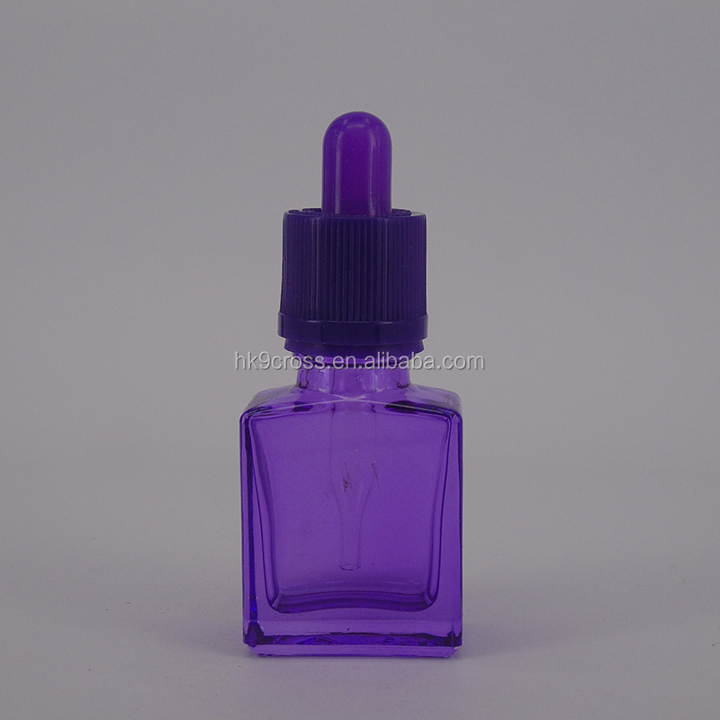 Purple square flat 15ml 30ml vodka wine glass bottle with childproof dropper