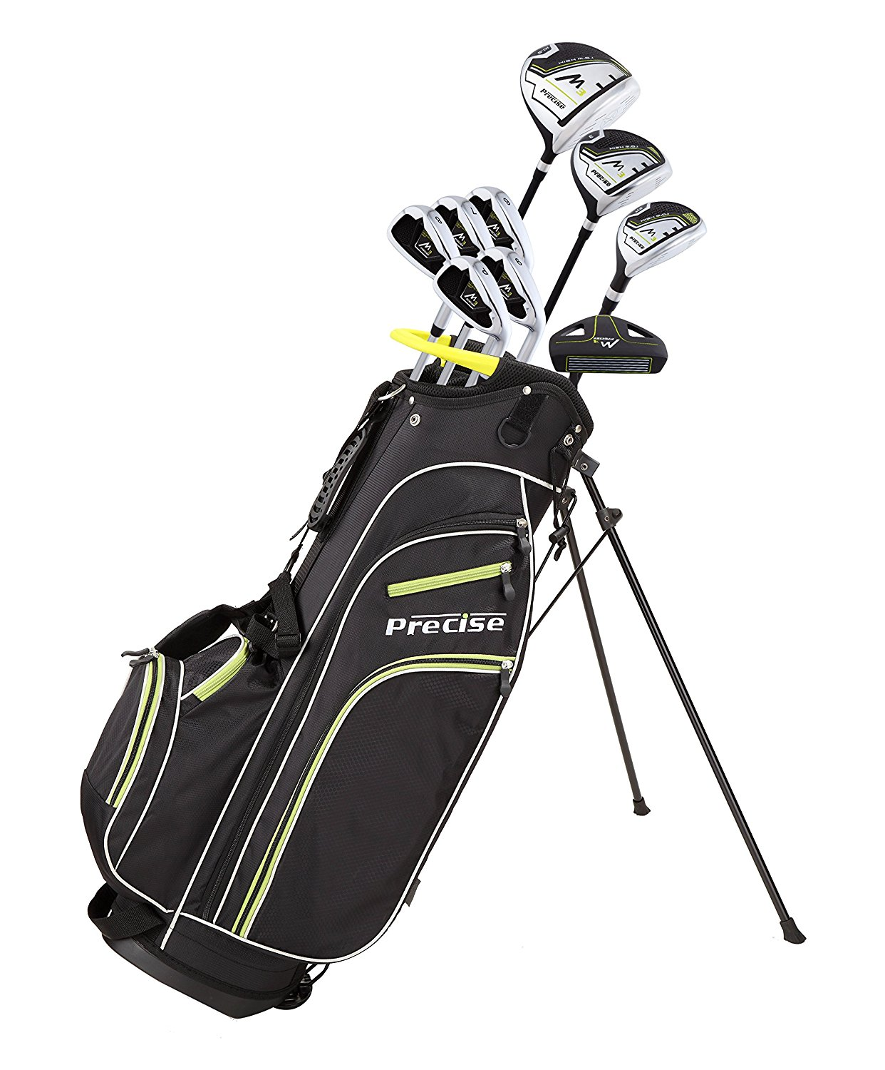 Precise Quality Men's Right Handed Complete Golf Club Set for Tall Men (Height 6'1 to 6'4) Includes: 460cc Driver, 3 Wood, 21 Hybrid, 6, 7, 8, 9, PW Irons, Putter, Deluxe Stand Bag & 3 Headcovers