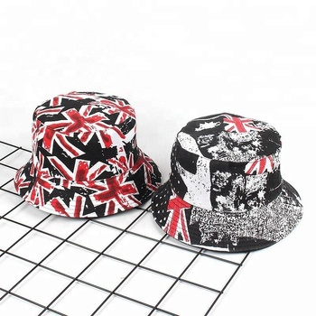 a71a24cbcd2d17 Custom Cotton Wide Brim Bucket Hat Reversible Fish Cap with America Flag  Printed
