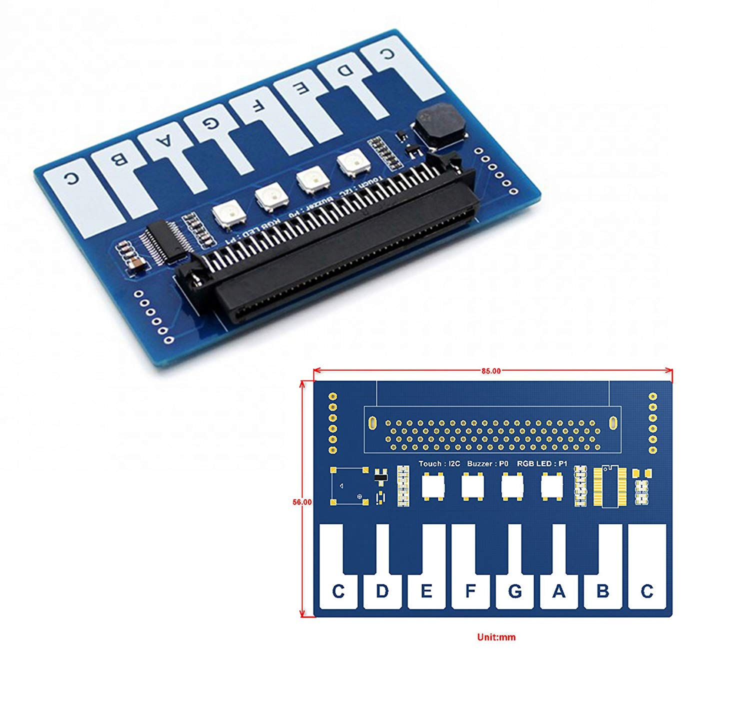 CQRobot Mini Piano Module for Micro Bit Touch Keys to Play Music with 4 RGB LEDs, Onboard Capacitive Touch Controller, 13x Touch Keys Through I2C Interface, Dimension: 85mm x 56mm