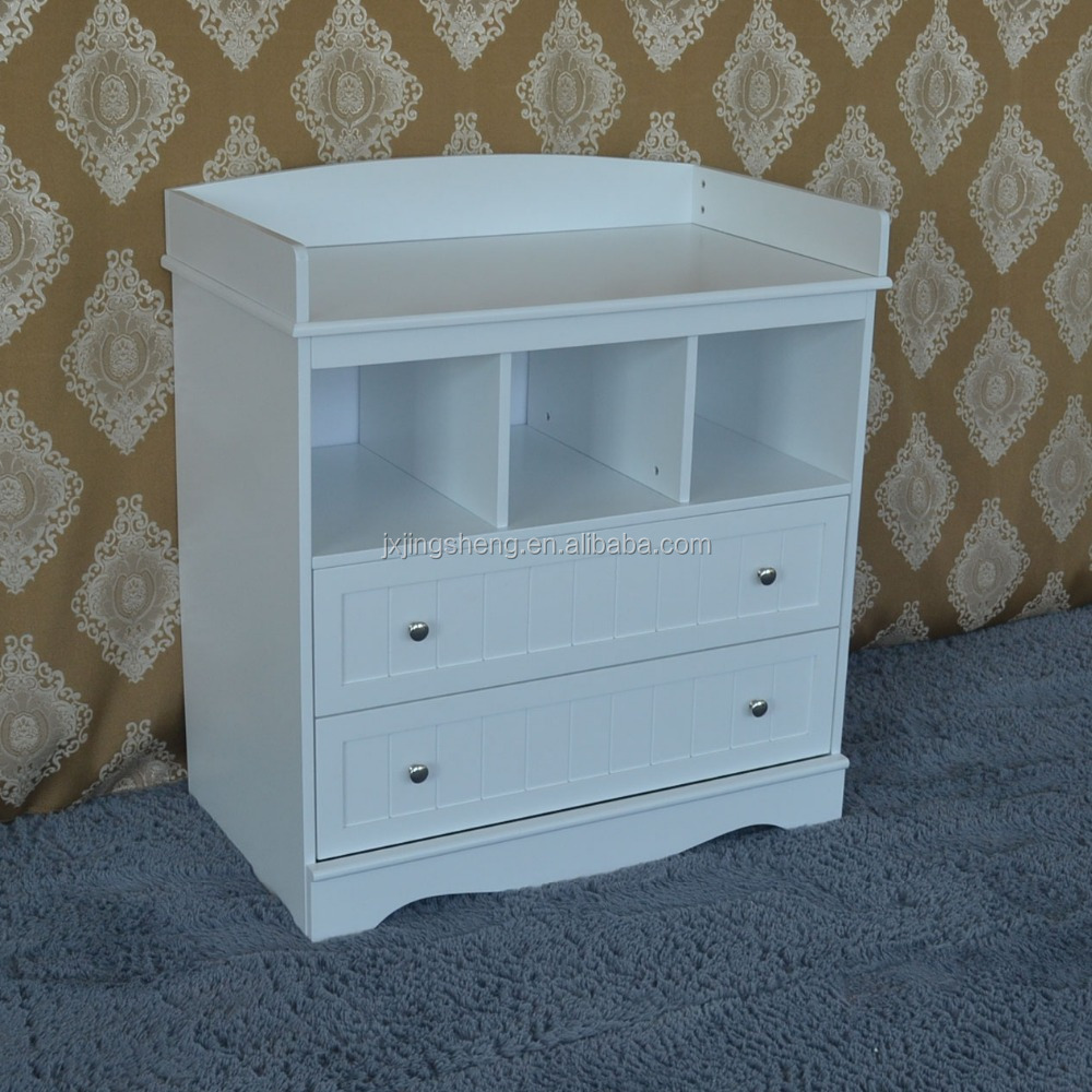 Baby Furniture With Storage Drawers White Wood Changing Table