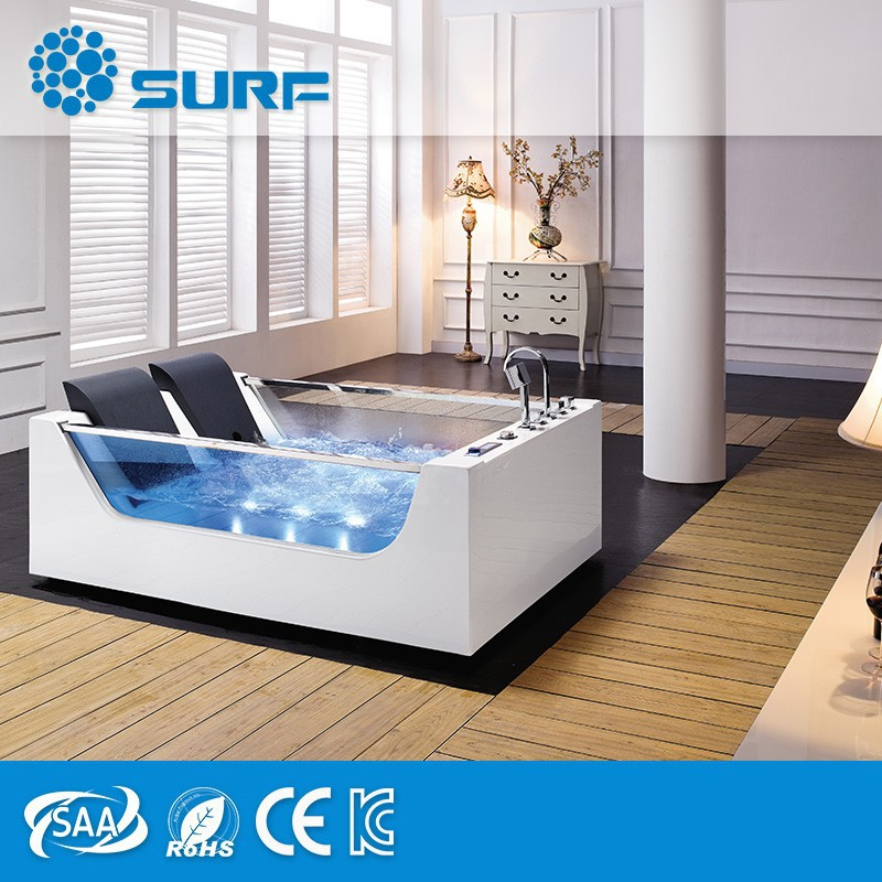 2017 New Technology High Quality Fashion Glass Hot Sale Indoor 2 Person Whirlpool Jets cheap Massage Bathtub