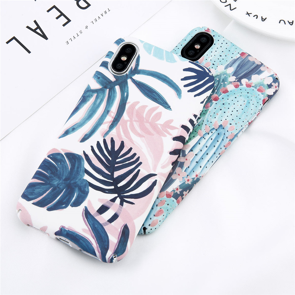 Water Print Candy Color Leaf Case For iPhone XR XS MAX X Green Cactus Flower Phone Cases For iPhone XR XS MAXHard PC Full Cover