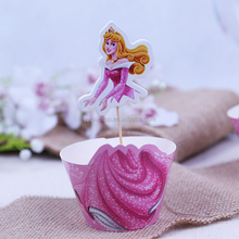 Hot Sale Children Birthday Party Wedding Decoration Favors Paper Princess Cupcake Cake Picks Wrappers and Toppers