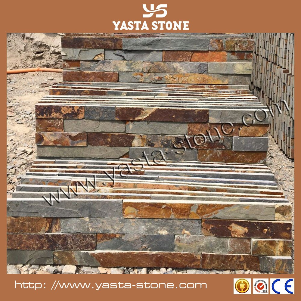 Cheap Natural Rusty Slate Stacked Stone Panels