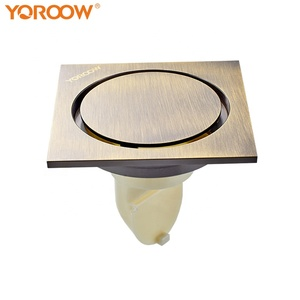 2019 YOROOW good quality 10x10cm square bathroom drainer 4 inches anti-odor brass floor drain water seal for bathroom