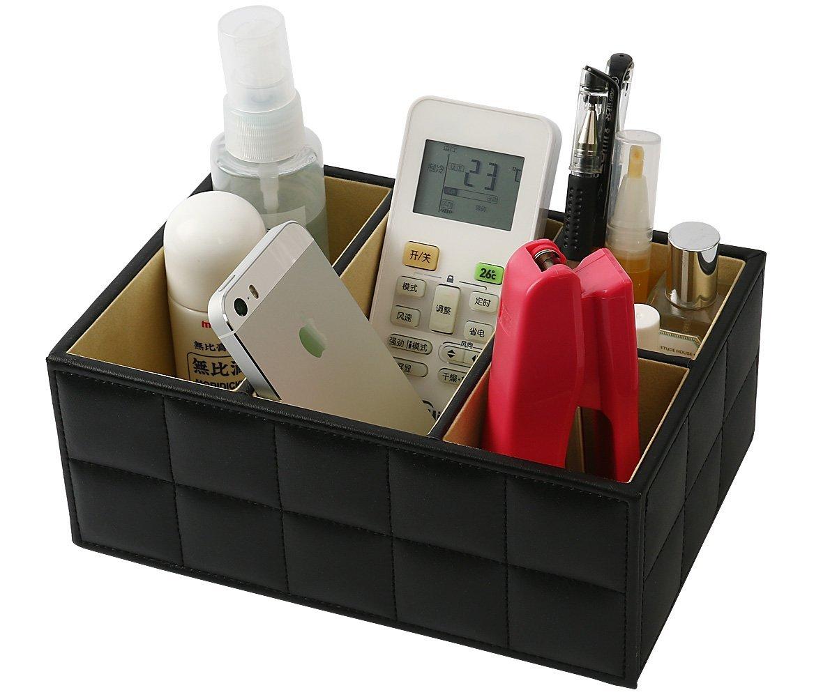 Desktop Organizer, MCIRCO Desk Supplies Organizer Caddy Office Supplies Remote Control Holder PU Leather 4 Compartments Teacher Supplies Pencil Holder Desktop Mail Organizer (Black)