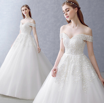 Zh0584f 2017 New Design White Bridal Wedding Gown Off Shoulder