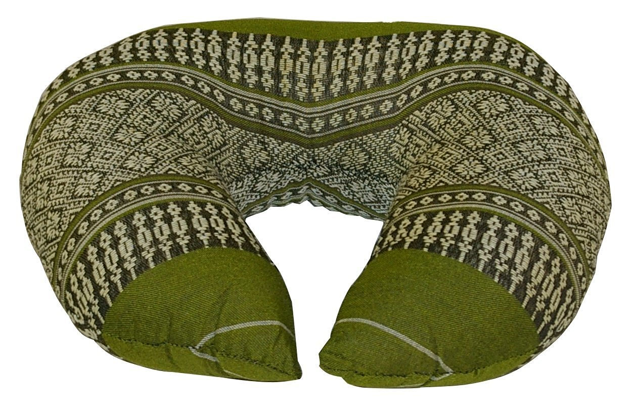 Neck Cushion Kapok-filled, Traditional Thai Design Bamboogreen
