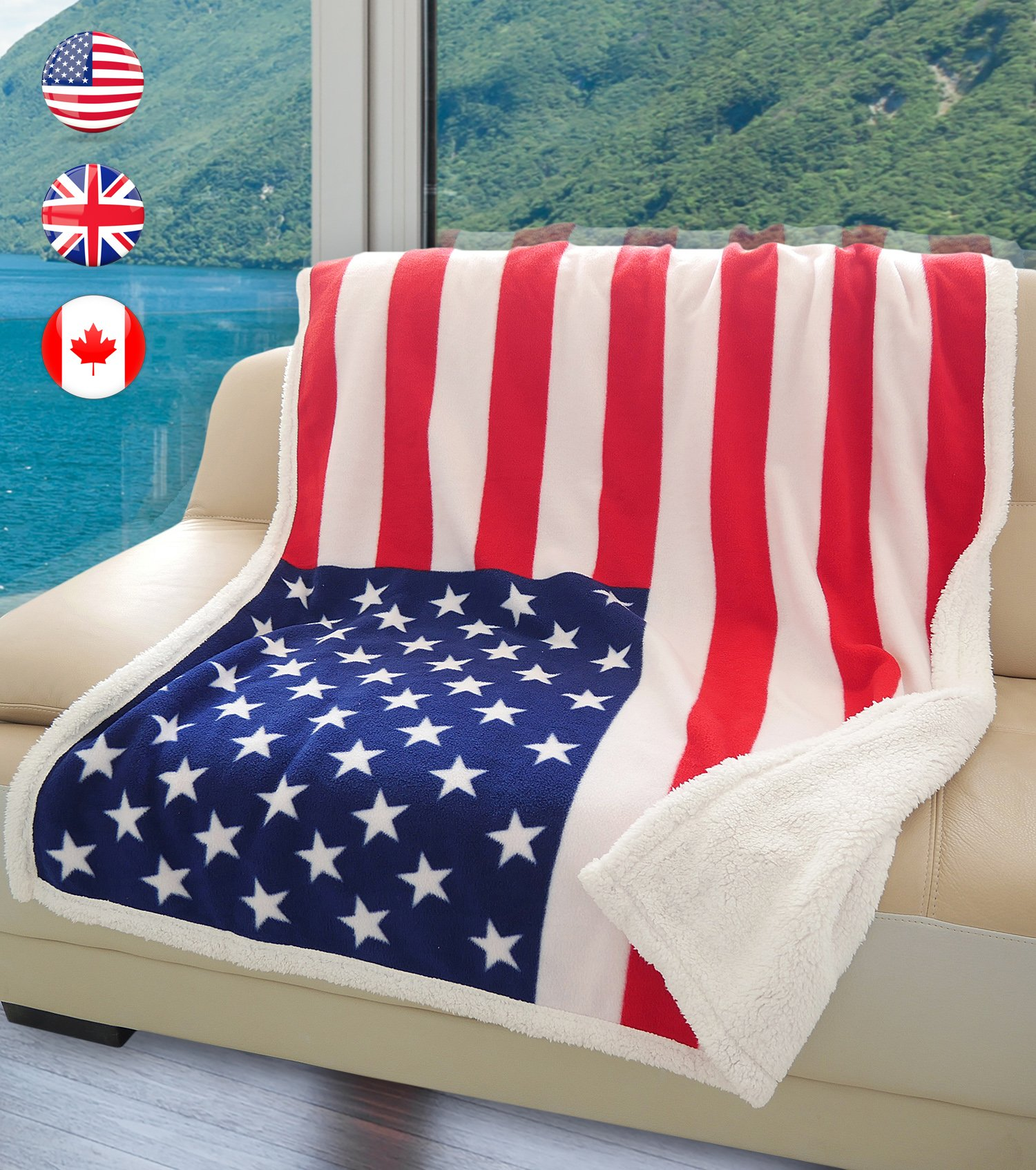 "US Flag Patriotic Sherpa Throw Blanket, Super Cozy Fleece Plush Bed Throw TV Blankets Reversible for Bed or Couch 50"" x 60"" 