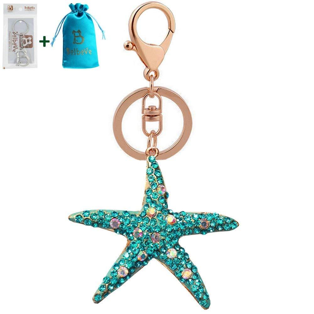 32d73c900a58ef Get Quotations · Bolbove Big Sparkling Starfish Keychain Blingbling Keyring  Crystal Rhinestones Purse Pendant Handbag Charm (Blue)