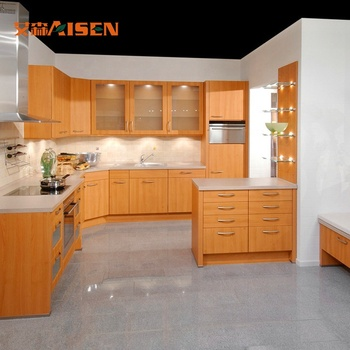 Home Style Modern Design grey shaker doors black cheap price melamine kitchen cabinet