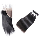 Peruvian Indian Malaysian Human Hair Weaves Virgin Brazilian Straight Hair 3 Bundles with Ear to Ear Lace Frontal Closures