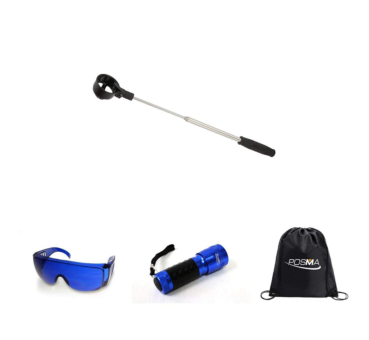 Posma BR050D Golf 5 section Retrectable 2m Golf Ball Retriever Set with 14 LED Golf Ball Finder Torch Ultraviolet Flashlight UV Retriever+Golf Ball Finder Hunter Retriever Glasses+cinch sack carry bag