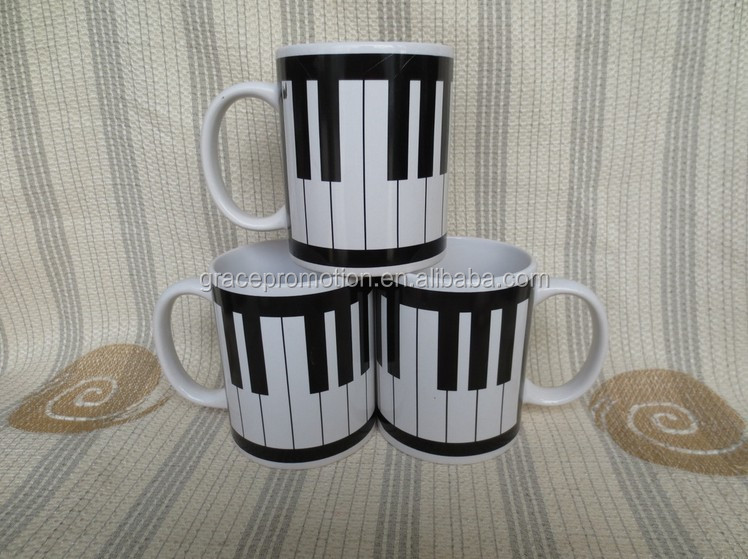 2015 Hot sale design painting black and white piano keys ceramic coffee mug with handle