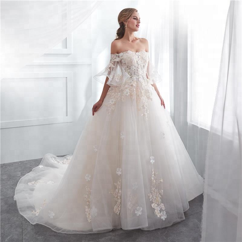 467a639db5 El hombro larga estilo Pagoda 3D flor encaje una línea vestidos de boda  nupcial blanco 2018
