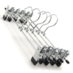 Inspring Metal Chrome Finish Hanger with Clip Bars and 2-Non-Slip Pegs, silver