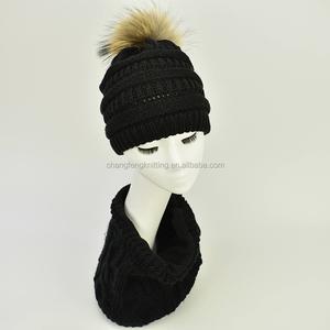 e559a171ddfdc Men women winter hats and scarf neck warmer fleece caps sets