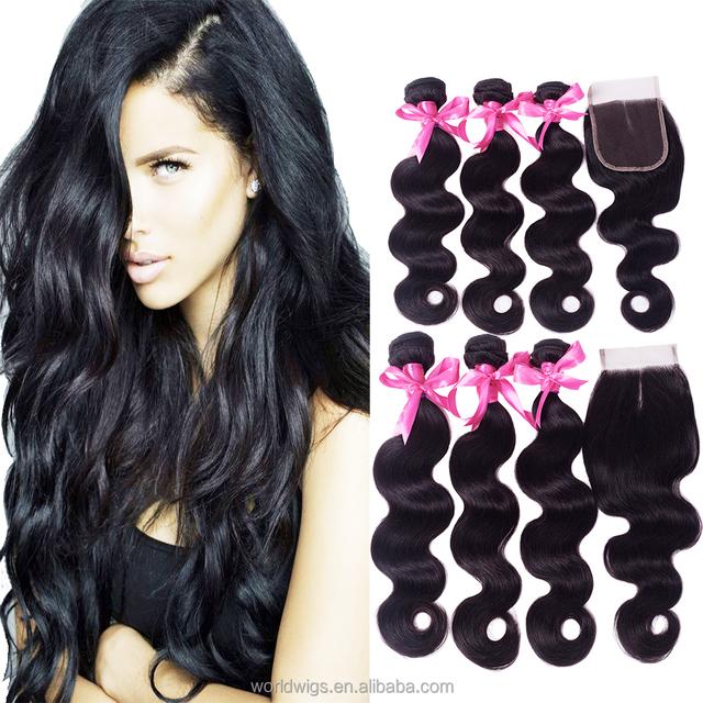 Peruvian hair bundles human hair extension body wave virgin remy hair bundles with lace closure