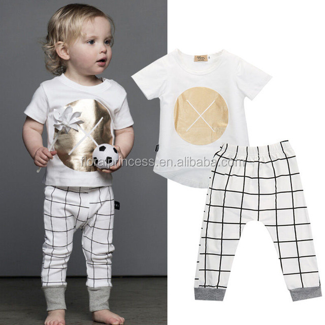 2017 Kids Baby Tops T-shirt Pants Gold XXX White Plaid Outfits Clothing Sets Baby Girls Boys Clothes Cotton Suit
