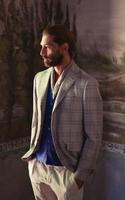 fashion urban suit,grey check,handsome tailored men's blazer
