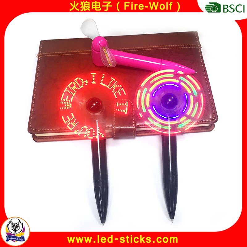 Hot New Products Pen with Fan Fast Delivery Summer Promotion Gift LED Flashing Message Fan Pen