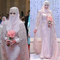 ZH4013G Vintage 2019 Muslim Wedding Dresses High Collar Long Sleeves Mermaid Wedding Dress with Lace Applique Beaded Wrap