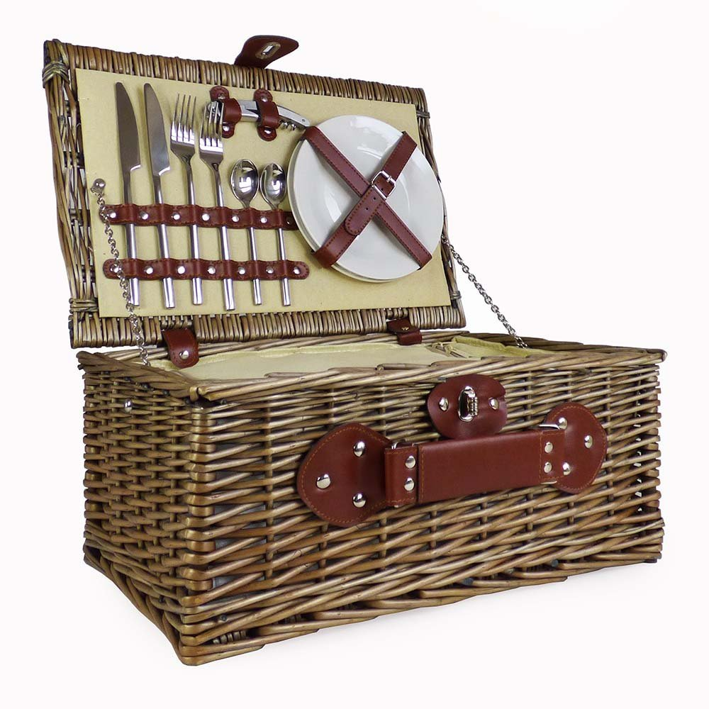 Cream Lined 2 Person Wicker Picnic Basket Hamper with Built In Chiller Compartment with Accessories by Fine Food Store