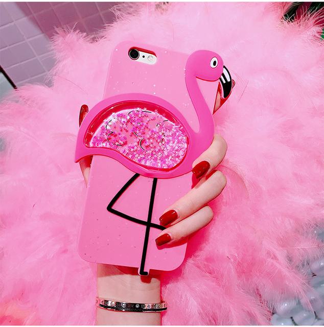 Pink Flamingo Glitter Quicksand Iphone