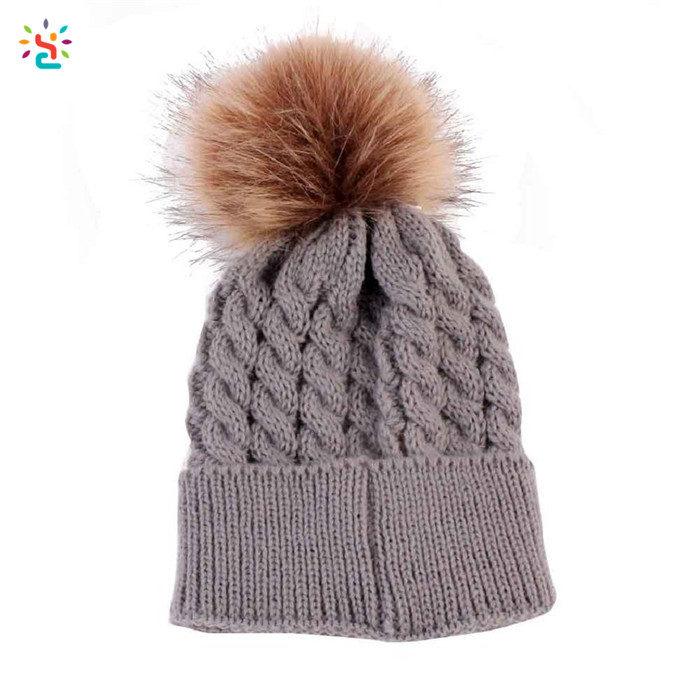 Plain toddler hats cable knit beanie pom pom hats with raccoon fur ball  beanie cap slouchy 2df5611db63