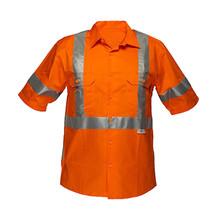 af41ce470b Oi vis laranja mens camisas de algodão de trabalho pesado