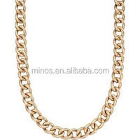 Stainless Steel Chain Jewelery 18kt Yellow Gold Plated Curb Link Collar Necklace 16 inches