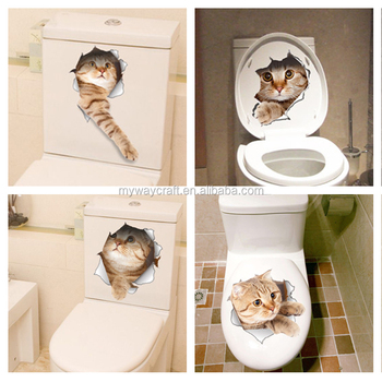 Home Decor Bathroom Toilet Funny Animals Poster PVC Mural 3D Smashed Wall Sticker