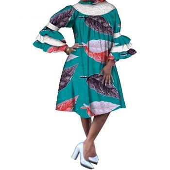 Casual Loose Print Lace Dresses Bazin Riche African Print Dresses