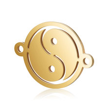 Nouveau Design <span class=keywords><strong>2</strong></span> Trous Connecteur Lien <span class=keywords><strong>charme</strong></span> pour hommes 12mm Taiji Yinyang Conception Pendentif