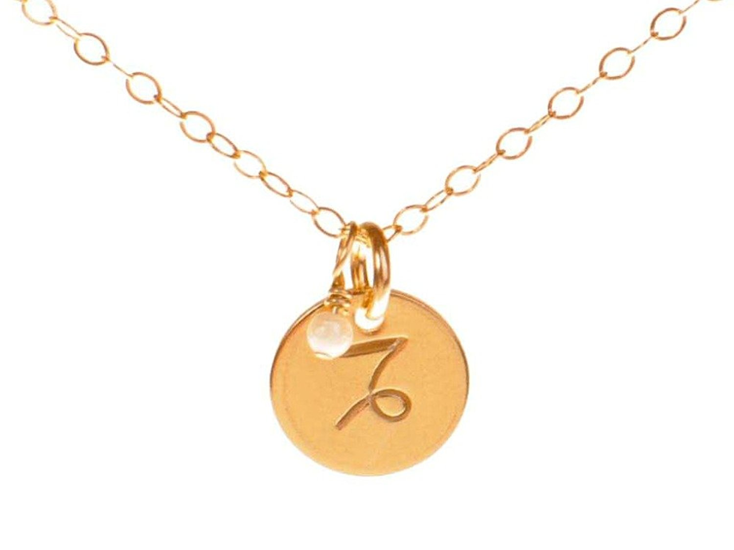 69074e3d67b8ab Get Quotations · Capricorn Necklace - Tiny Gold Filled Simple Zodiac Sign  with Birth Month Charm, Zodiac Pendant
