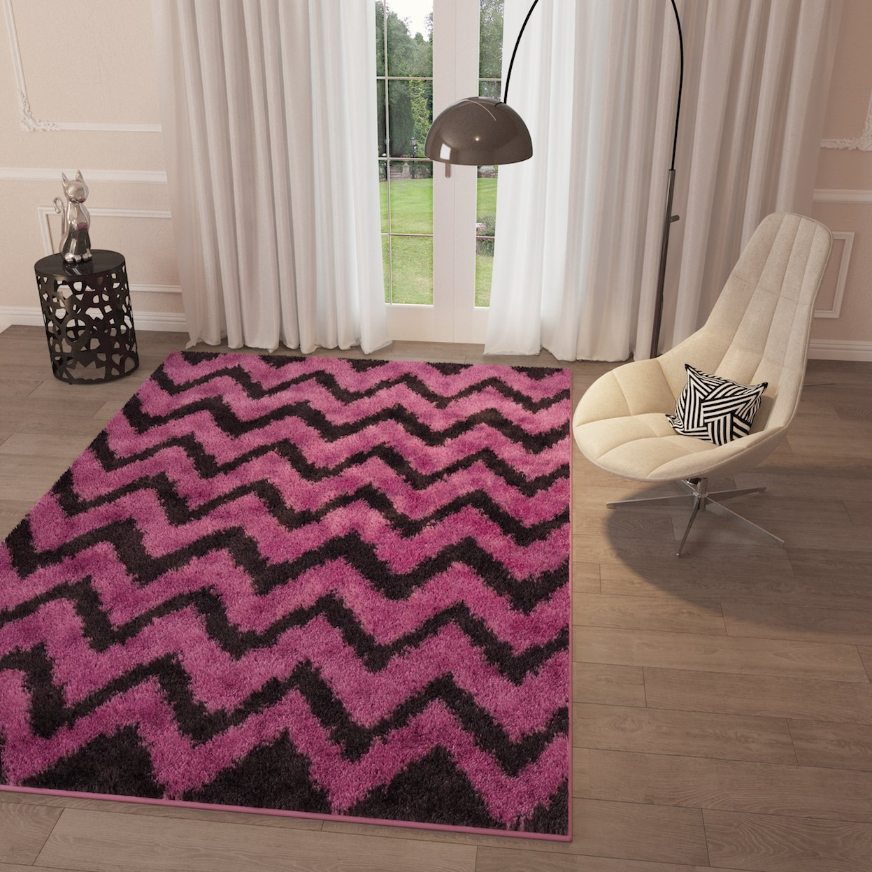 Get Quotations Pink Chevron Shag Area Rug Geometric Modern Contemporary Living Dining Room Bedroom Kitchen