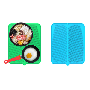 Silicone Kitchen Dish Drying Mat Dish Drying Mat Thick Counter Mat With Deep Grooves, Dry Faster & Easy Letting The Water Out