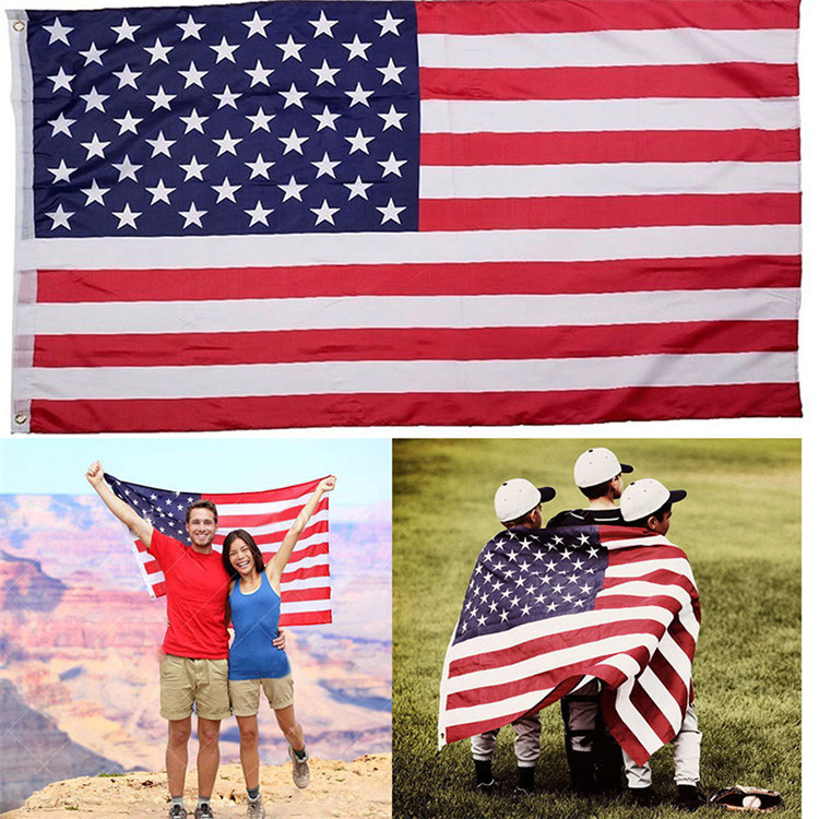 High Quality In Stock Cheap 3x5ft 210D Oxford nylon USA American Heat Transfer Sublimation national flag