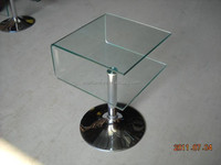 cheap lift top end table small with clear tempered bent glass