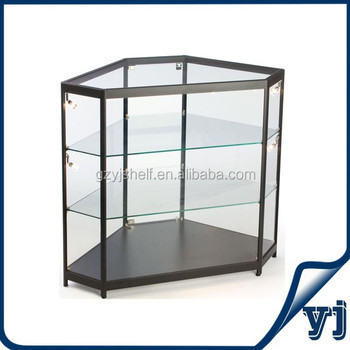 Cheap Price Crystal Display Free Standing Hexagon Corner Glass Display  Cabinet