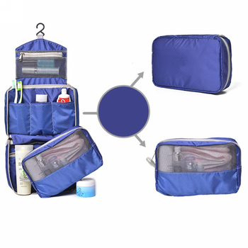 cheap blue hanging detachable mens personalized toiletry bag for