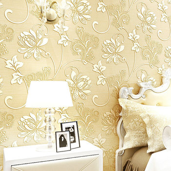 European Modern Nonwoven Silk Wallpaper Home Decoration 3d Flower ...
